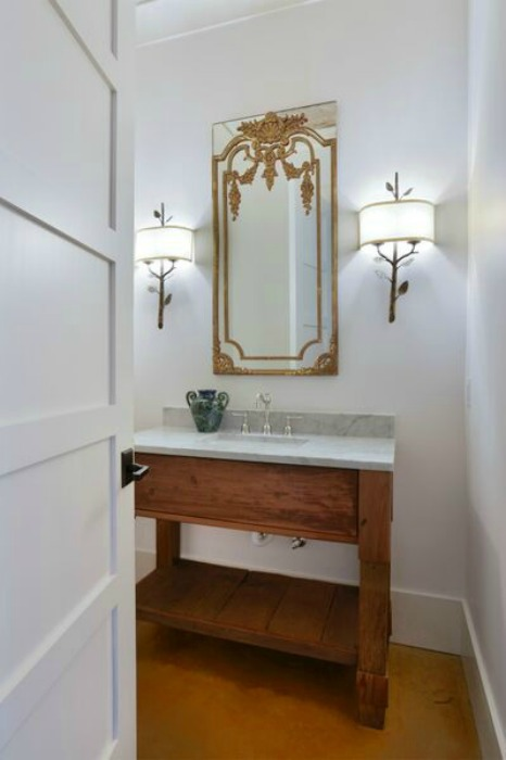 Beautiful bathroom vanity with concrete counter kellyelko.com