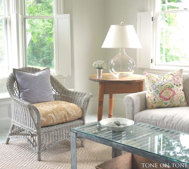 Coastal family room - love an indoor wicker chair kellyelko.com