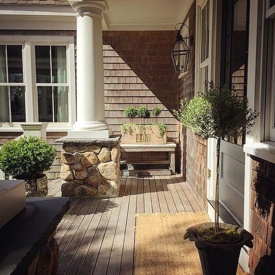 Coastal front porch - love the stone column bases kellyelko.com