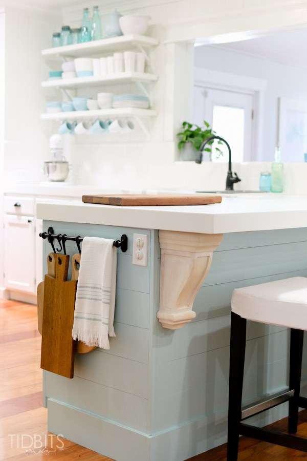 A new corbel adds farmhouse character to a cottage kitchen renovation kellyelko.com