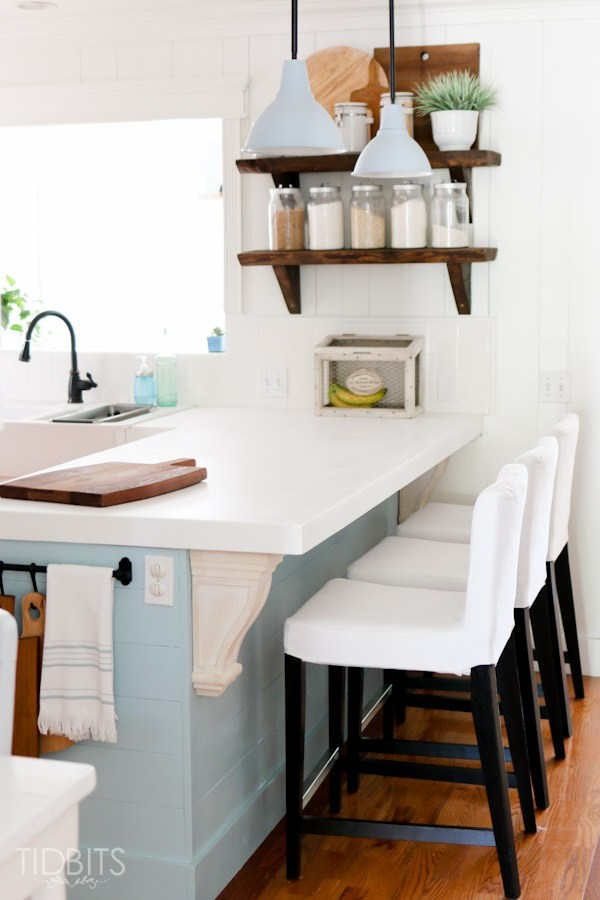 charming cottage kitchen - love the rustic wood shelves kellyelko.com