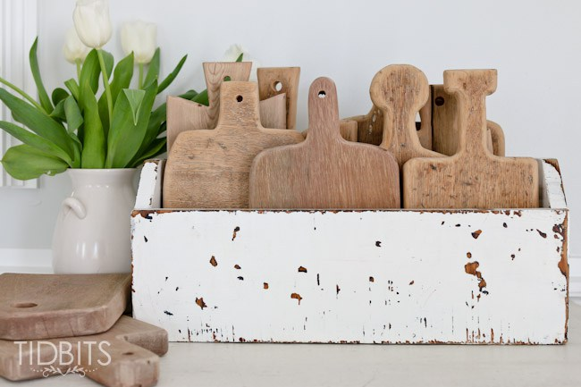 Cutting board collection - cute displayed in a rustic old toolbox kellyelko.com