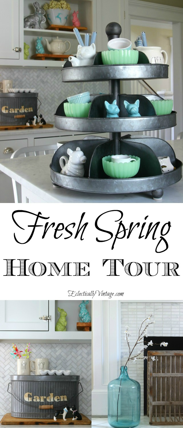 Spring House Decorating Tour - so many creative decorating and DIY ideas! kellyelko.com #spring #springdecor #springdecorating #springcrafts #hometour #housetour #eclectichome #farmhousedecor #fixerupperstyle #jadeite #farmhousestyle #vintagedecor #vintagehome #kellyelko