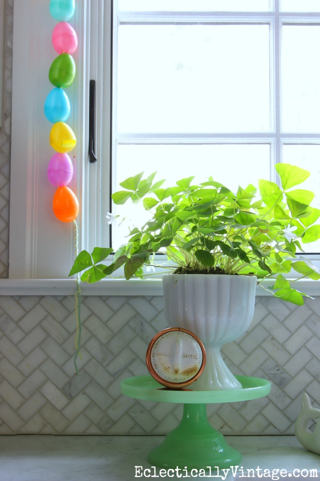 Green cake stand is a great way to elevate plants kellyelko.com #plants #plantlady #springcrafts #kidscrafts #kellyelko