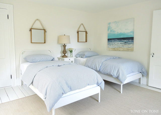 Eclectic home tour tone on tone maine home for Guest bedroom furniture