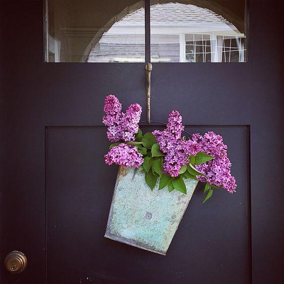 Lilac bucket door wreath kellyelko.com