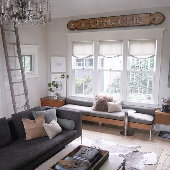Old sign adds character to this modern family room kellyelko.com