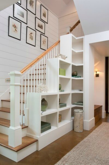 Love this planked wall staircase with built in bookcase kellyelko.com