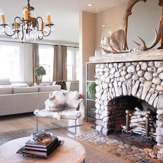 This rock fireplace is so charming! kellyelko.com