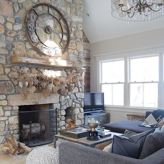 Stone fireplace focal wall - love the huge clock above the rustic wood mantel kellyelko.com
