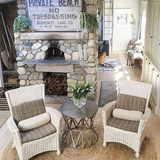 Stunning stone fireplace in this coastal home tour kellyelko.com