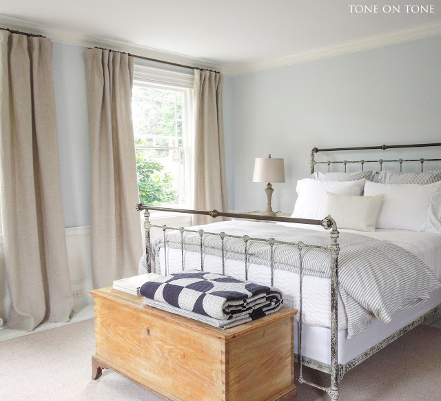 Simple master bedroom - love the blanket chest and iron bed kellyelko.com