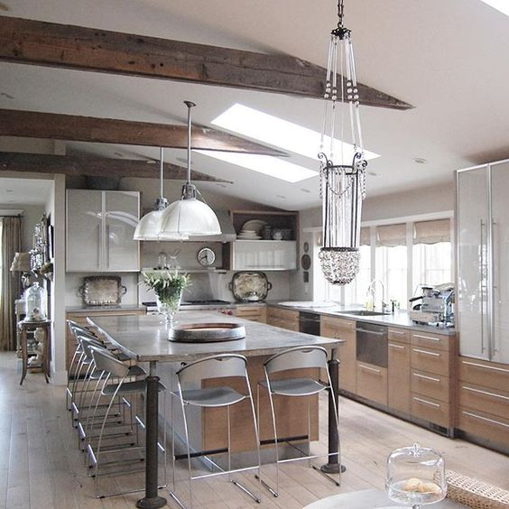 Modern kitchen with rustic beams and wood floor kellyelko.com