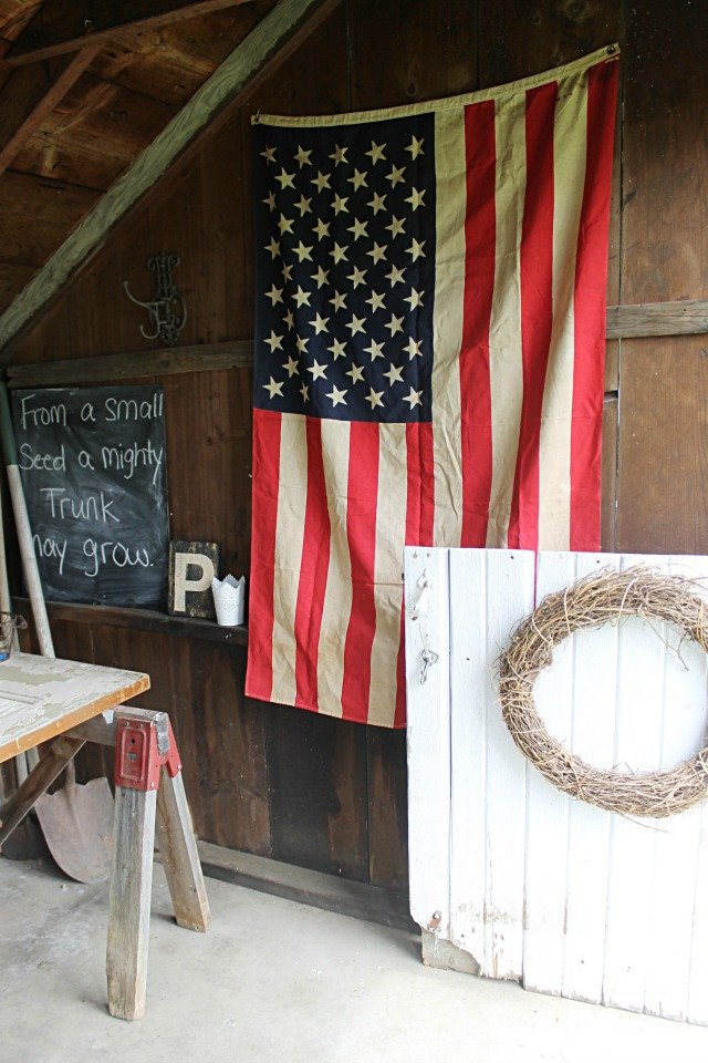America flag in a rustic potting shed kellyelko.com