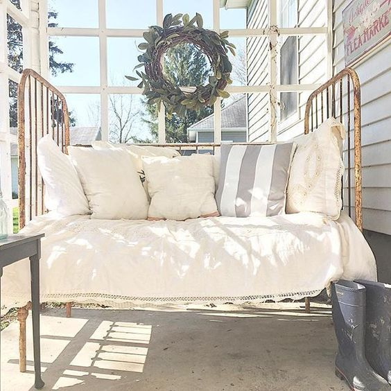 Antique crib turned porch daybed kellyelko.com