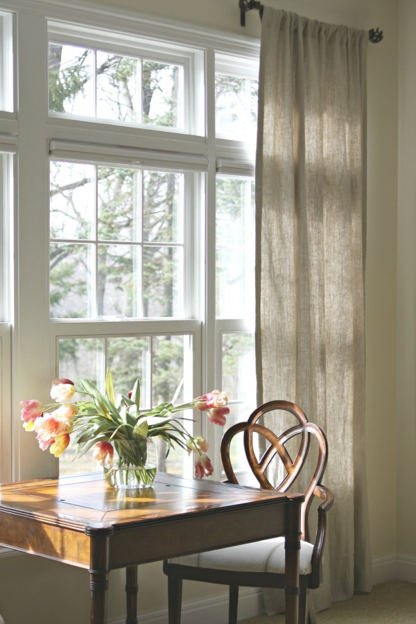 Burlap curtains - such a beautiful light filled room kellyelko.com