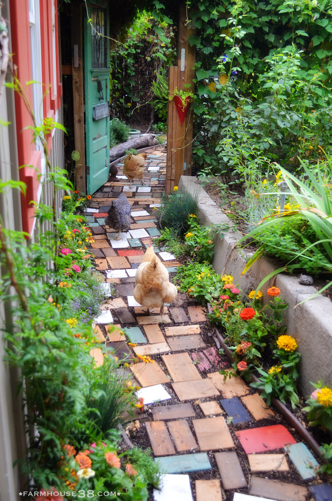 Love this garden path made from leftover scrap wood kellyelko.com