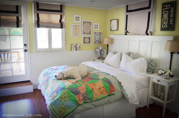 Cozy bedroom with colorful quilt kellyelko.com
