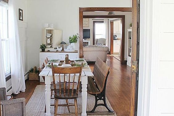 Farmhouse dining room - love the mismatched chairs with the bench and white table kellyelko.com