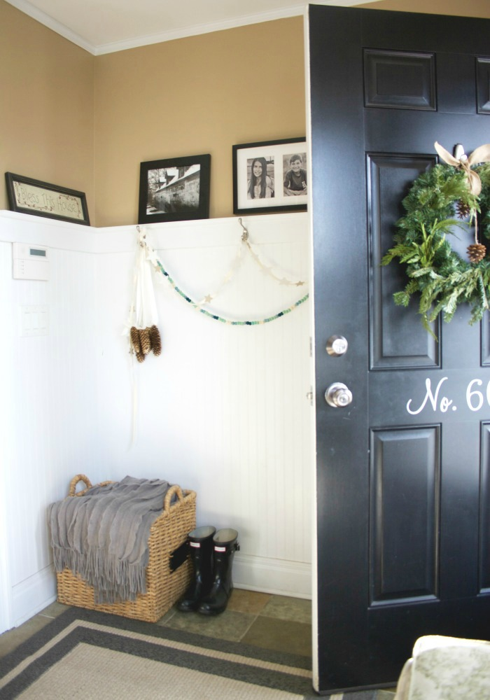 Numbered front door - love the dramatic black paint color kellyelko.com