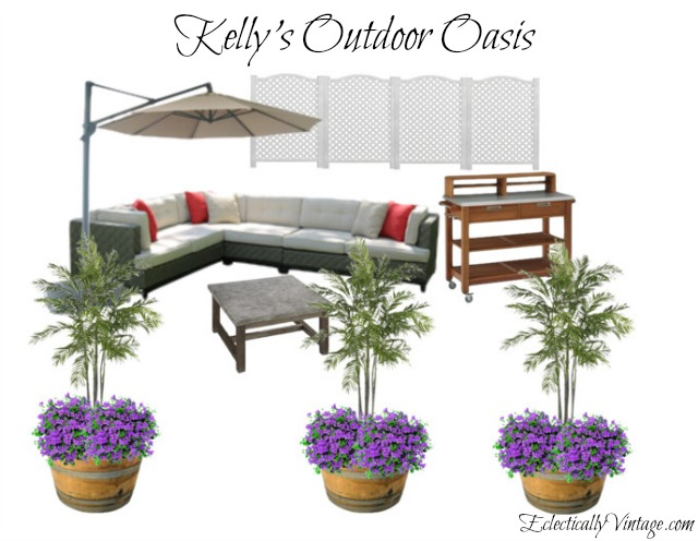 Love this patio mood board - perfect for backyard parties! kellyelko.com