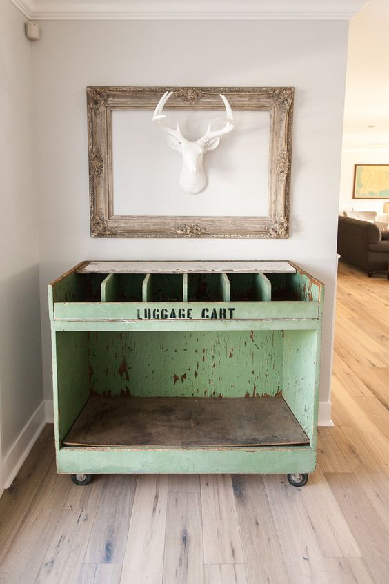 Vintage luggage cart - the perfect addition to this eclectic home kellyelko.com
