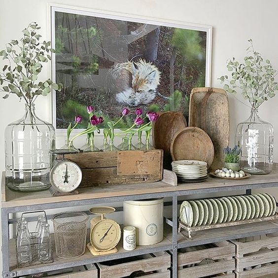 Love these industrial shelves filled with farmhouse finds kellyelko.com