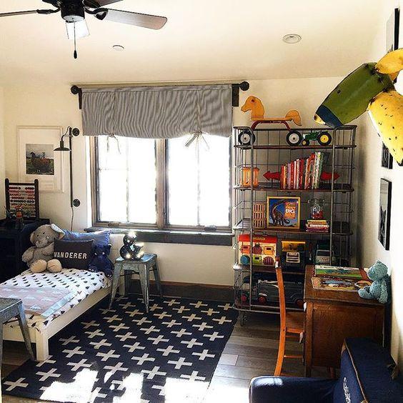 Love this cute industrial boys bedroom kellyelko.com