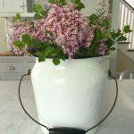 lilacs, vintage enamel bucket