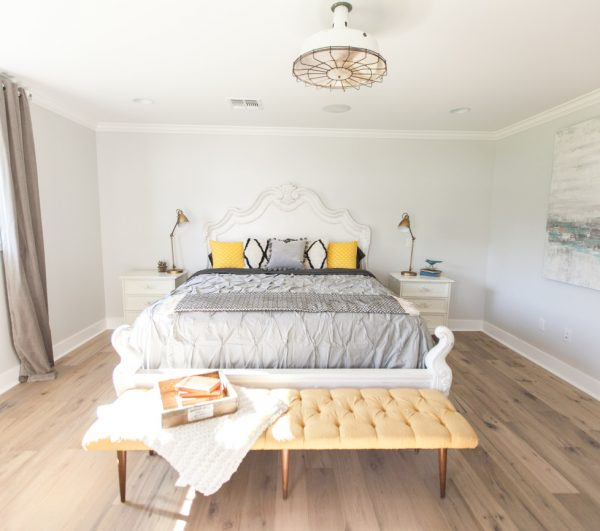 Bright master bedroom - love the gray and yellow color combination kellyelko.com