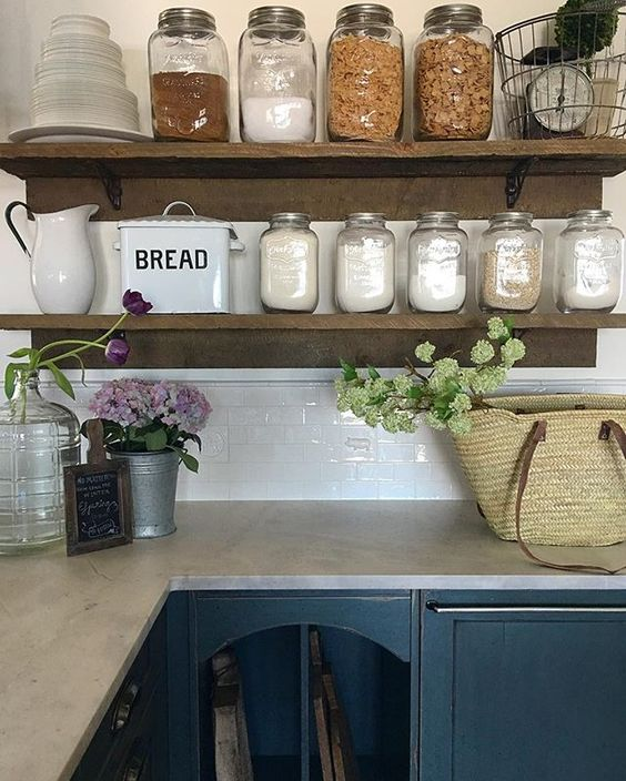 Love these rustic kitchen shelves for storing everyday essentials in mason jars kellyelko.com