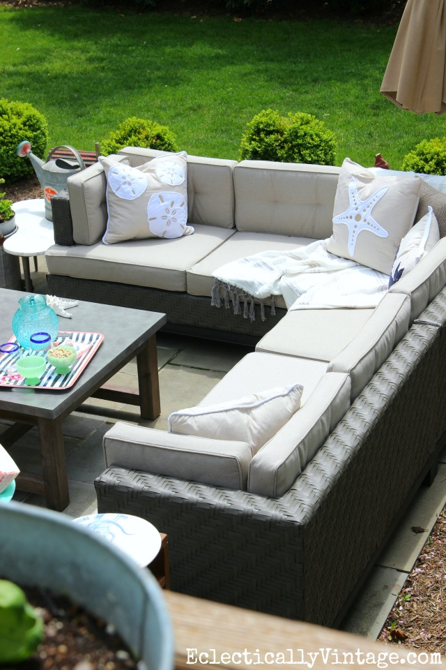 Awesome Cozy outdoor sectional sofa love the coastal pillows kellyelko