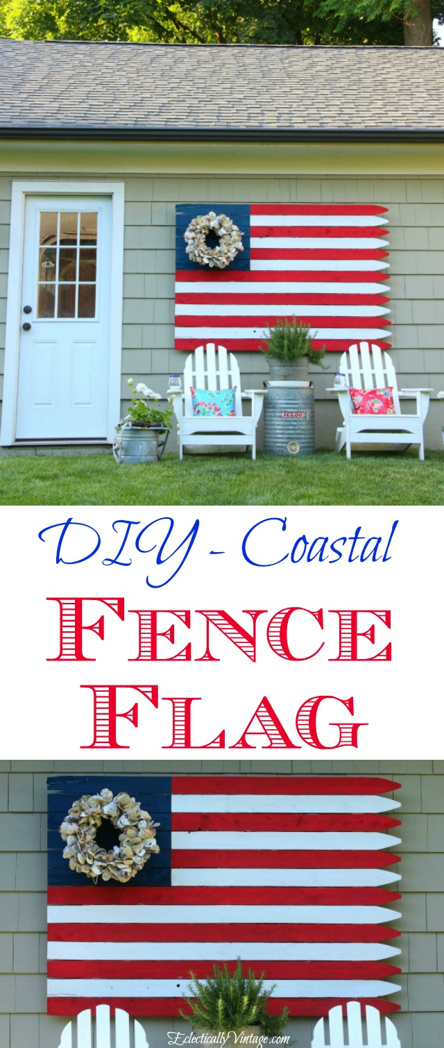 DIY Fence Flag - love the oyster shell wreath instead of stars! kellyelko.com #flag #flags #fourthofjuly #memorialday #diyideas #diyprojects #diycrafts #upcycle #repurpose #garden #gardendecor #outdoordecor #gardens #outdoors #patriotic #americanflag #vintagedecor #kellyelko