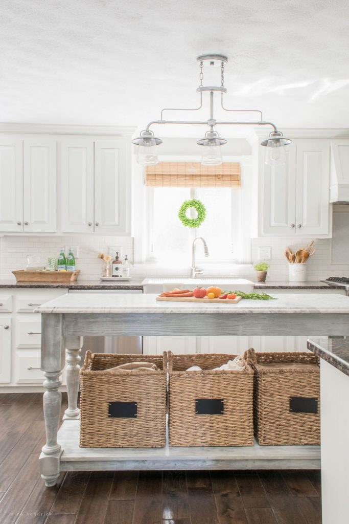 Eclectic Home Tour - Nina Hendrick Design - beautiful kitchen with a DIY open island kellyelko.com