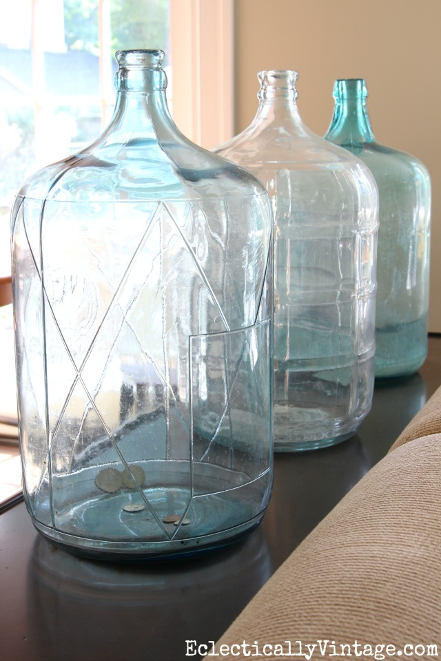 Love this trio of glass water jugs kellyelko.com