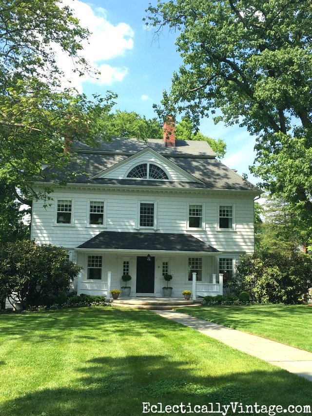 Love the unusual dormer on this antique white house kellyelko.com