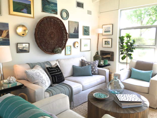 Eclectic gallery wall - love the big basket kellyelko.com