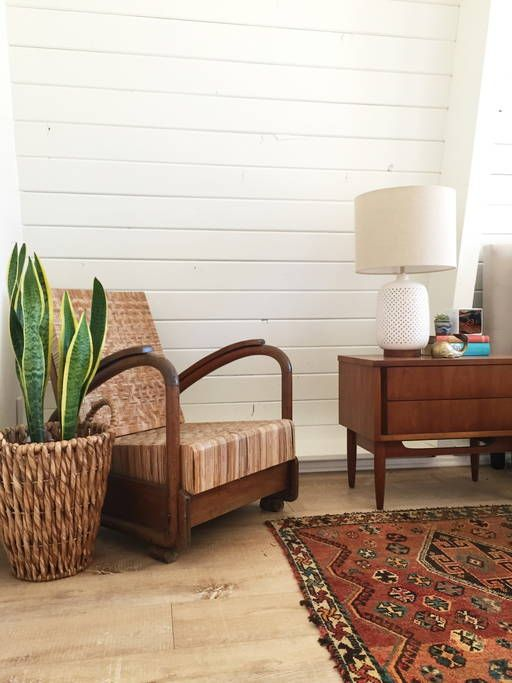 I love mid century furniture against shiplap walls kellyelko.com