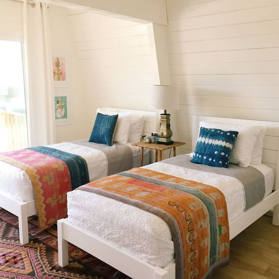 Shiplap walls bedroom - love the vintage kantha quilts kellyelko.com