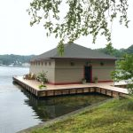racoon island, boat house, lake