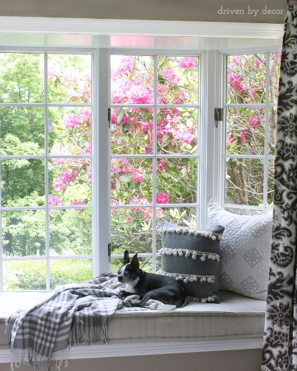 Love this built in window seat with cozy pillows and throw kellyelko.com