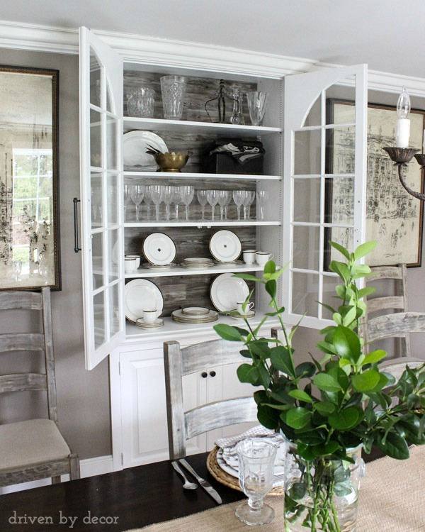 Add flooring to the back of a china cabinet for interest kellyelko.com