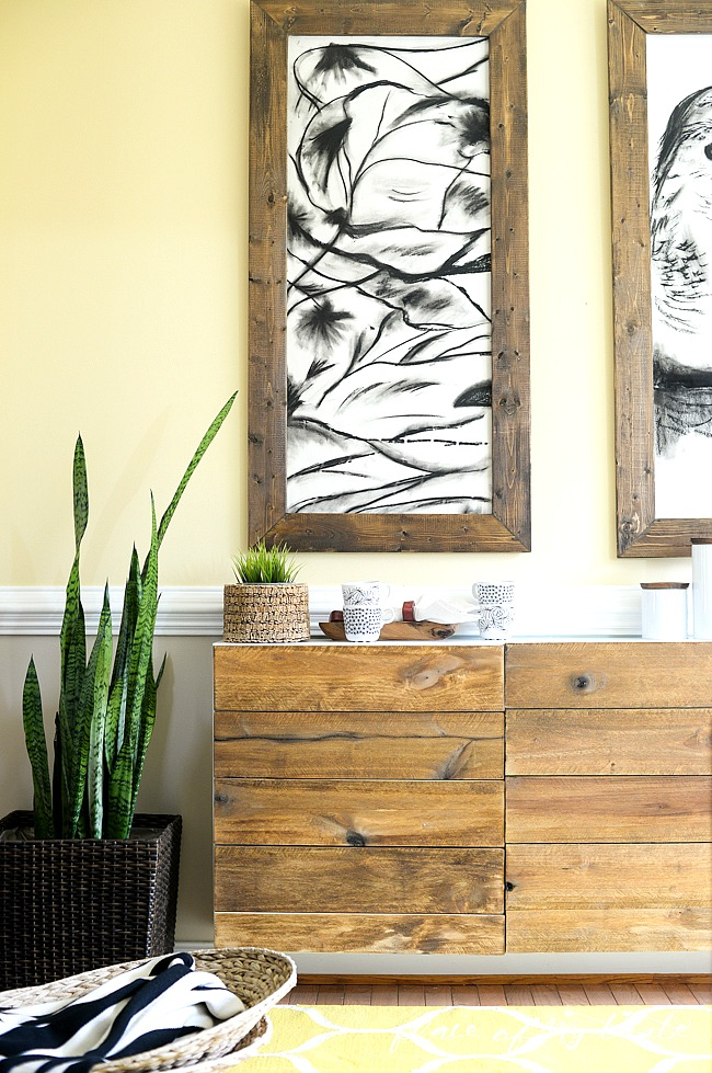 Reclaimed wood buffet - such a great Ikea hack! kellyelko.com