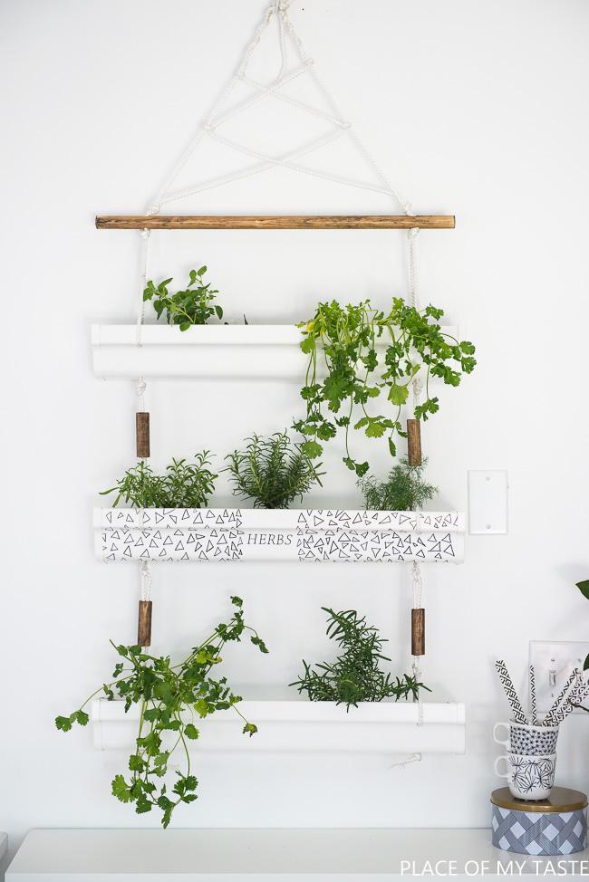 DIY hanging herb garden from a gutter kellyelko.com