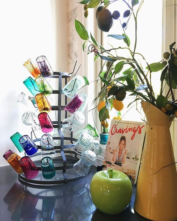 Drying rack is perfect for displaying favorite colorful drinking glasses kellyelko.com