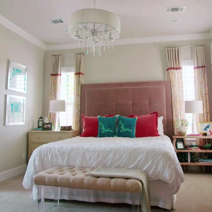 Master bedroom - love the tall upholstered headboard kellyelko.com
