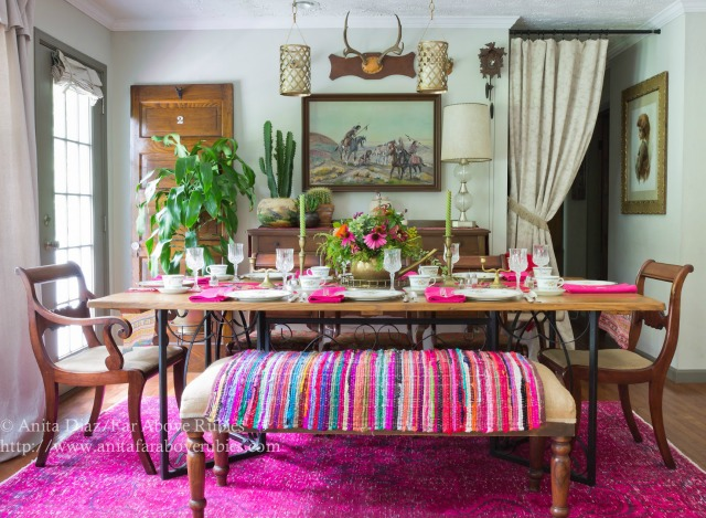 Love this fun, colorful dining room with antique furniture and overdyed pink rug kellyelko.com