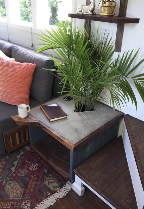 Love this concrete table with a hole for plants kellyelko.com