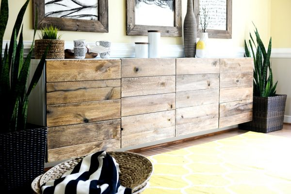Ikea transformation - reclaimed wood buffet kellyelko.com