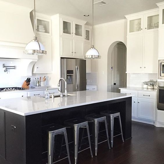 Black and white kitchen - love the galvanized stools kellyelko.com